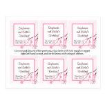 El favor marca la flor de cerezo con etiqueta rosa tarjetas postales