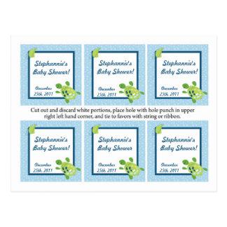 El favor marca la tortuga de mar con etiqueta del  postales