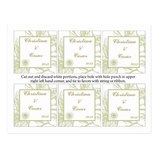 El favor marca las flores verdes de la margarita c postal