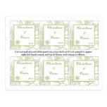 El favor marca las flores verdes de la margarita c tarjetas postales