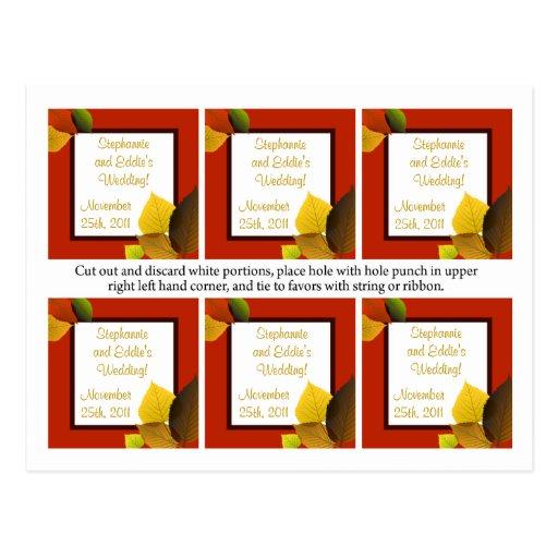El favor marca las hojas del follaje con etiqueta tarjeta postal