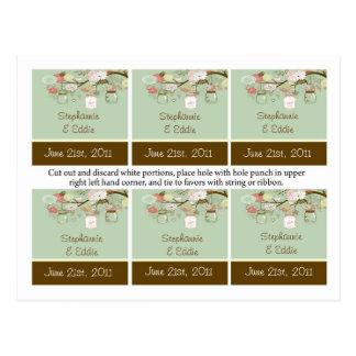 El favor marca verde floral de los tarros con etiq tarjetas postales