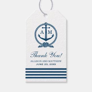 El favor náutico del boda marca el monograma del etiquetas para regalos