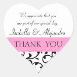 El favor negro rosado del boda le agradece mensaje pegatina corazon