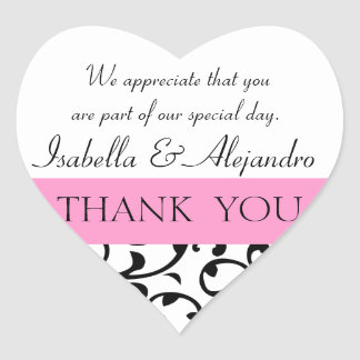 El favor negro rosado del boda le agradece mensaje pegatina en forma de corazón