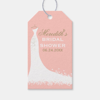 El favor nupcial de la ducha marca el vestido de etiquetas para regalos