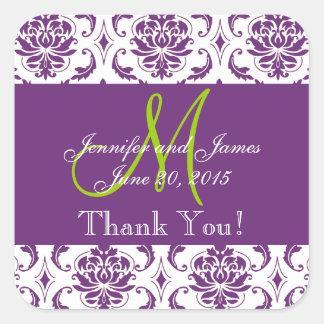 El favor púrpura del boda del damasco le agradece pegatinas cuadradases