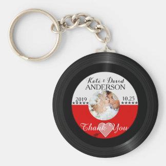 El favor retro del boda de la foto del disco de vi llavero redondo tipo pin