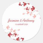 El favor rojo del personalizado de Sakuras 2 le Pegatina Redonda
