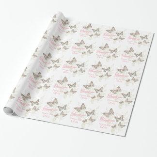 El favor rosado blanco del boda de las mariposas papel de regalo