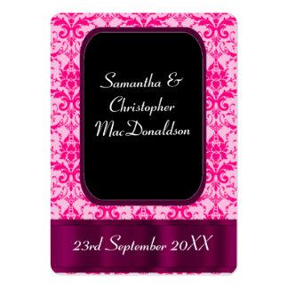 El favor rosado brillante del boda del damasco le tarjetas de visita grandes