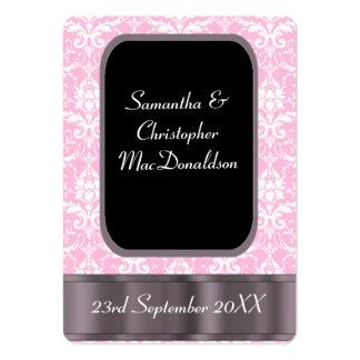 El favor rosado y blanco del boda del damasco le tarjetas de visita grandes