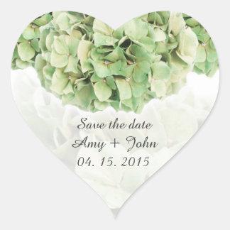 El favor verde del boda del hydrangea marca pegatina en forma de corazón