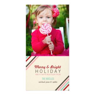 El feliz caramelo raya saludos modernos de la foto tarjeta personal con foto