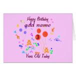 El feliz cumpleaños 3 años añade nombre/edad del tarjeta de felicitación