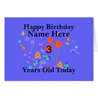 El feliz cumpleaños 3 años añade nombre tarjeta de felicitación