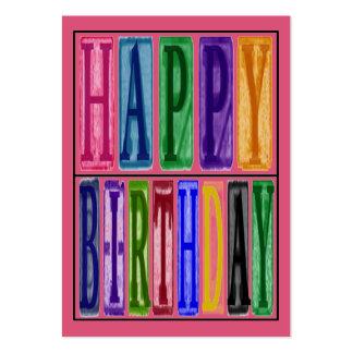 El feliz cumpleaños bloquea la etiqueta del regalo tarjetas de visita grandes