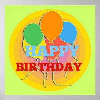 El feliz cumpleaños brillantemente coloreado póster