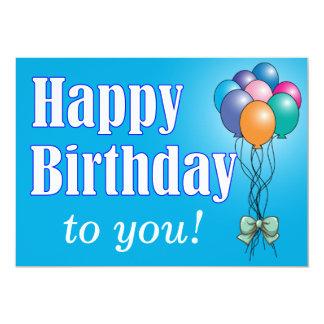 """El feliz cumpleaños con los globos diseña la invitación 5"""" x 7"""""""