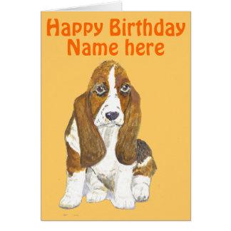 El feliz cumpleaños de Basset Hound, añade el Tarjeta De Felicitación