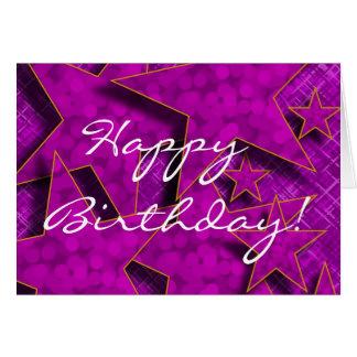 El feliz cumpleaños en púrpura protagoniza la tarj tarjeta de felicitación
