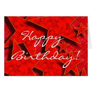 El feliz cumpleaños en rojo protagoniza la tarjeta