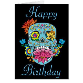 El feliz cumpleaños florece el cráneo mexicano del tarjeta de felicitación