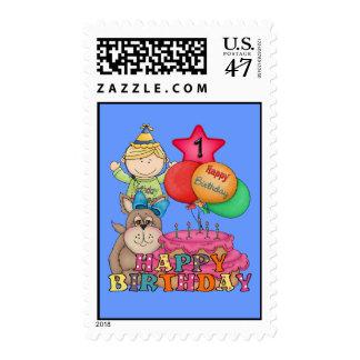 El feliz cumpleaños hincha al muchacho de 1 año estampillas