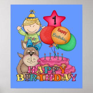 El feliz cumpleaños hincha al muchacho de 1 año poster