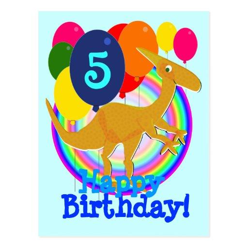 El feliz cumpleaños hincha la postal de 5 dinosaur
