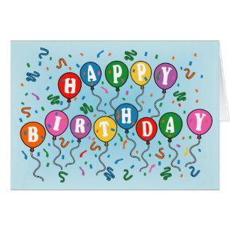 El feliz cumpleaños hincha la tarjeta