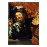 El feliz Fiddler - Van Honthorst Tarjetas