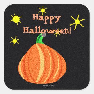 El feliz Halloween de la calabaza de Lil Calcomanías Cuadradas