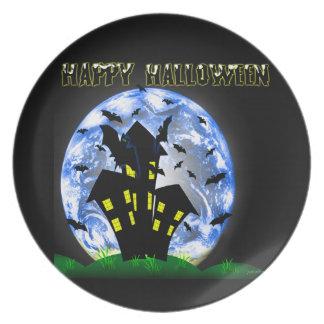 El feliz Halloween golpea la placa de la casa enca Platos De Comidas