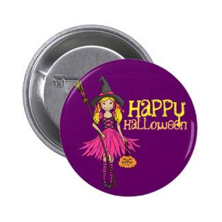 El feliz Halloween rubio del chica embroma la Pin Redondo De 2 Pulgadas
