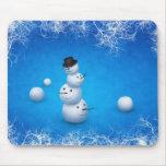 El feliz muñeco de nieve alfombrillas de ratones