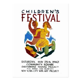 El festival de los niños tarjeta postal