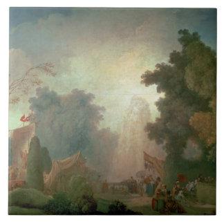 El Fete en la Santo-Nube (aceite en lona) (para el Azulejo Cuadrado Grande