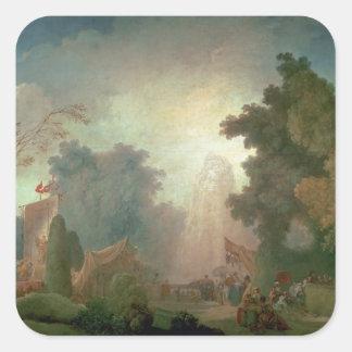 El Fete en la Santo-Nube (aceite en lona) (para el Pegatina Cuadrada