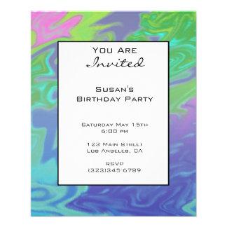 El fiesta abstracto azulverde colorido invita tarjetones