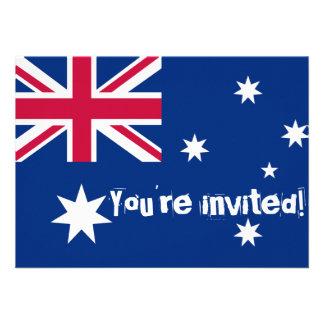 El fiesta australiano de la bandera invita invitaciones personalizada