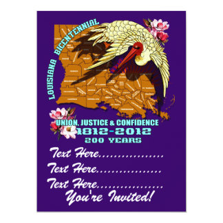 El fiesta bicentenario del carnaval de Luisiana Invitación 16,5 X 22,2 Cm