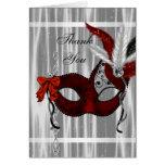 El fiesta blanco negro rojo de la mascarada le tarjeta pequeña