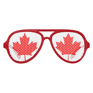 El fiesta canadiense de la bandera de la hoja de gafas de sol