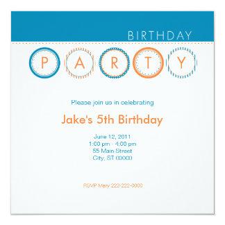 """El fiesta circunda - centrado - el azul y el invitación 5.25"""" x 5.25"""""""