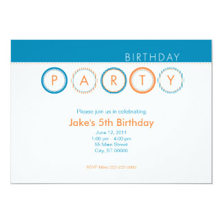 """El fiesta circunda - centrado - el azul y el invitación 5"""" x 7"""""""