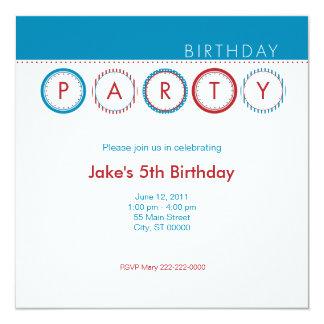 """El fiesta circunda - centrado - el azul y el rojo invitación 5.25"""" x 5.25"""""""