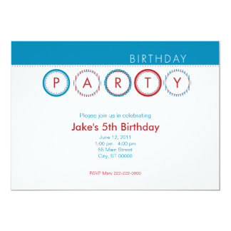 """El fiesta circunda - centrado - el azul y el rojo invitación 5"""" x 7"""""""