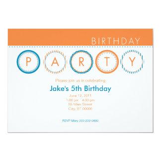 """El fiesta circunda - centrado - el naranja y el invitación 5"""" x 7"""""""