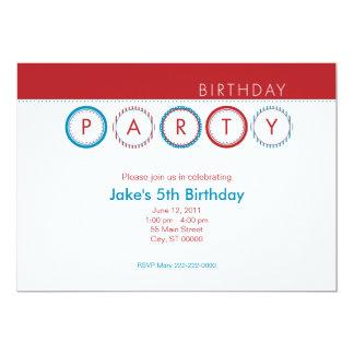 """El fiesta circunda - centrado - rojo y el azul invitación 5"""" x 7"""""""